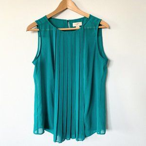 Ann Taylor LOFT Sleeveless Green Pleated Blouse